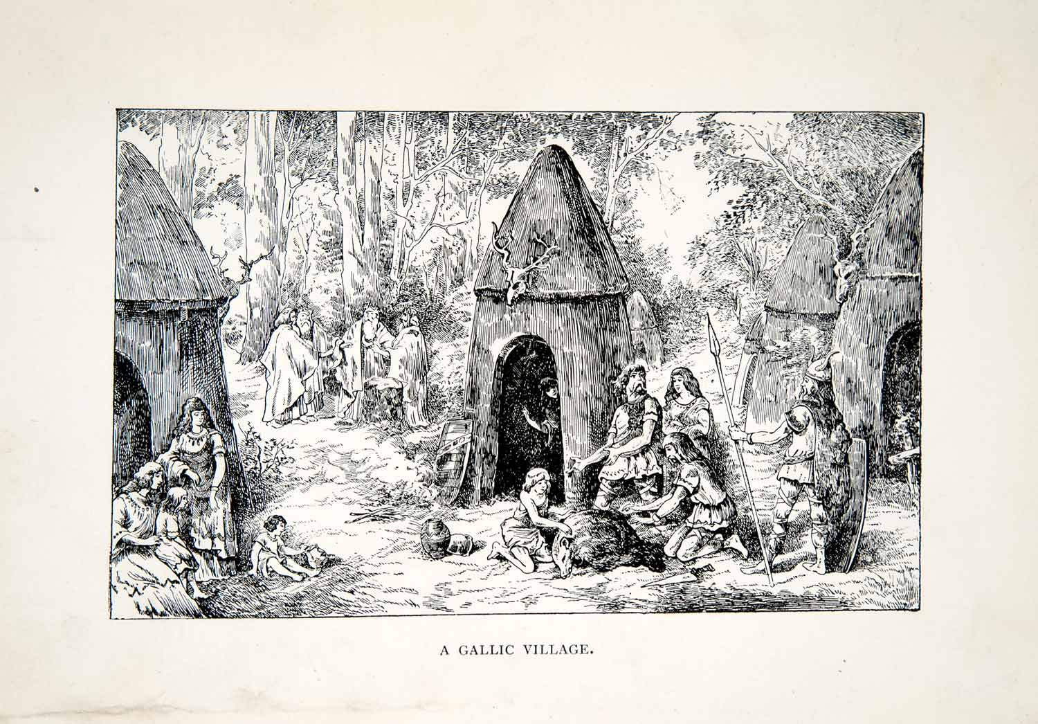 1913 Wood Engraving France Gallic Village Middle Ages Tribe Warrior Hut Art XEJ9