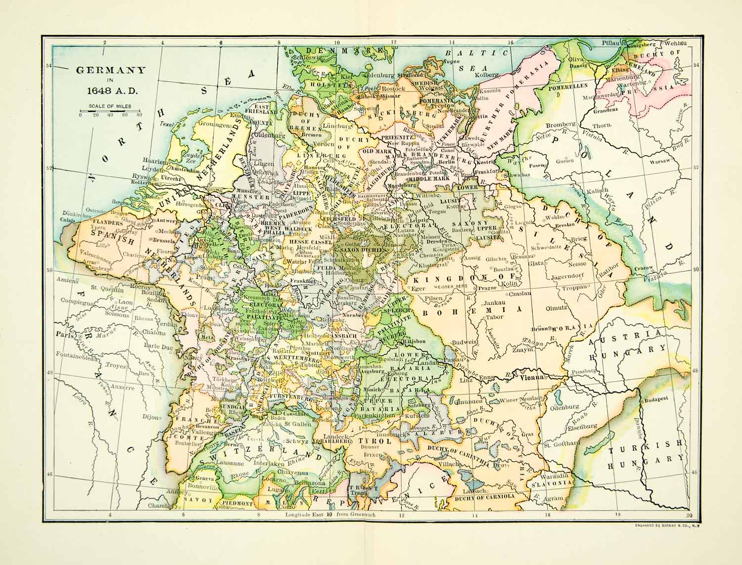 1919 Print Map Germany Bremen Lunerurg Wurttemberg Hesse Cassel 1648 ...