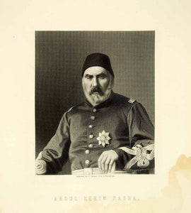 1878 Steel Engraving Abdul Kerim Pasha Ottoman Officer Russo Turkish War XEJA5