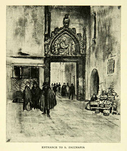 1905 Print San Zaccaria Church Venice Entrance Joseph Pennell Art XEJA6