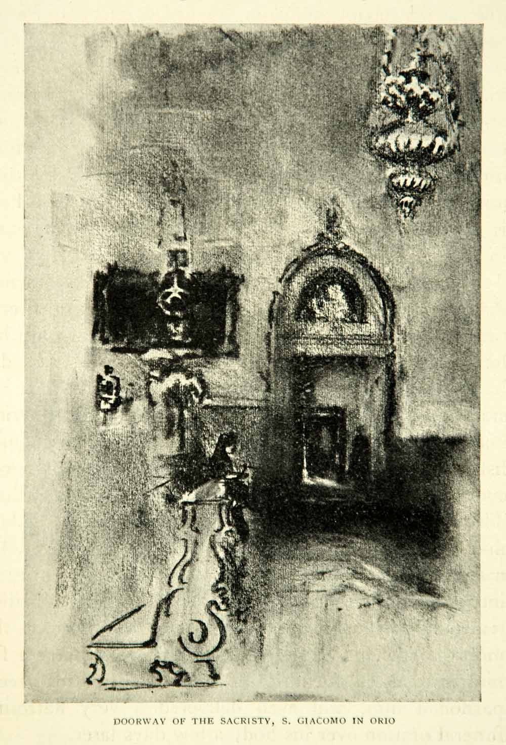 1905 Print San Giacomo dell'Orio Church Sacristy Door Venice Joseph XEJA6