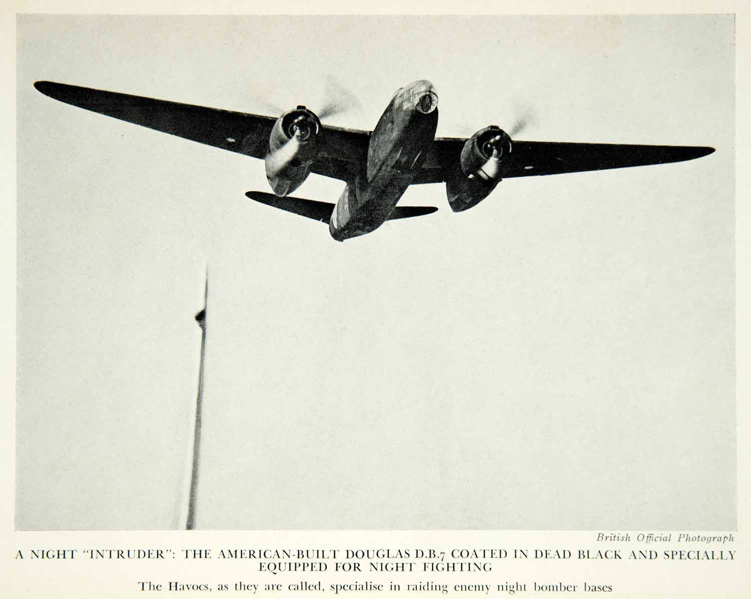 1943 Print World War II Night Intruder Havocs Douglas db-7 A-20 American XEKA1