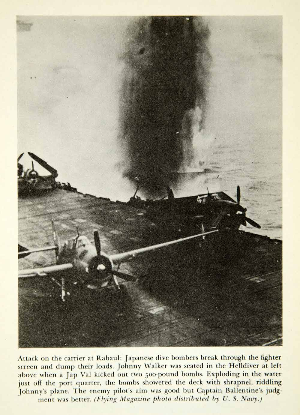 1944 Print World War Two Pacific Theatre Aircraft Carrier Japanese Attack  XEKA3