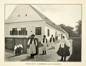 1907 Print Hungarian Farmhouse Peasants Traditional Clothing Outfit XEKA9