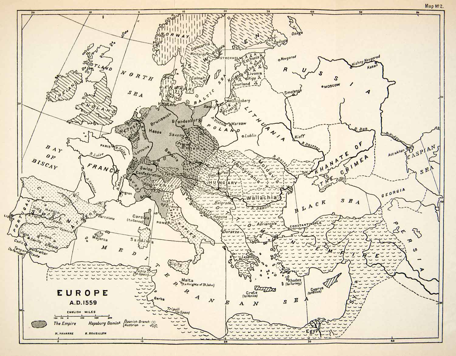 1932 Print Map Europe Ottoman Empire Naples Wallachia Russia Persia ...