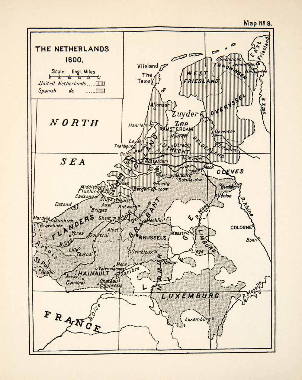 1932 Print Map Netherlands Europe Luxemburg Brabant Flanders Holland