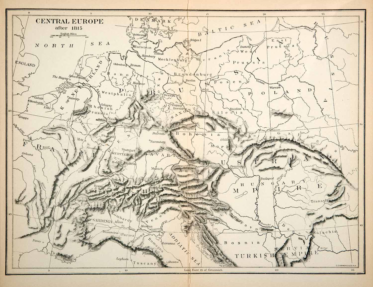 1914 Print Map Central Europe France Austrian Empire Prussia Hungary Russia XEL6