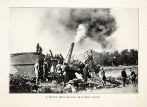 1926 Print Gun Western Front Cannon War Soldiers Smoke Huts Trees Fight XEL9