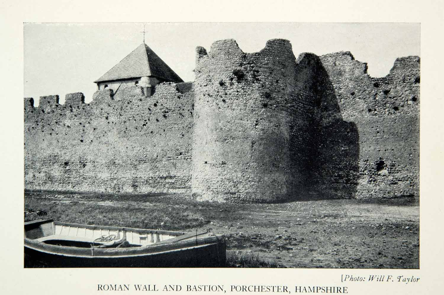 1938 Print Roman Wall Bastion Porchester Norman Church Ruins Fortress XELA6