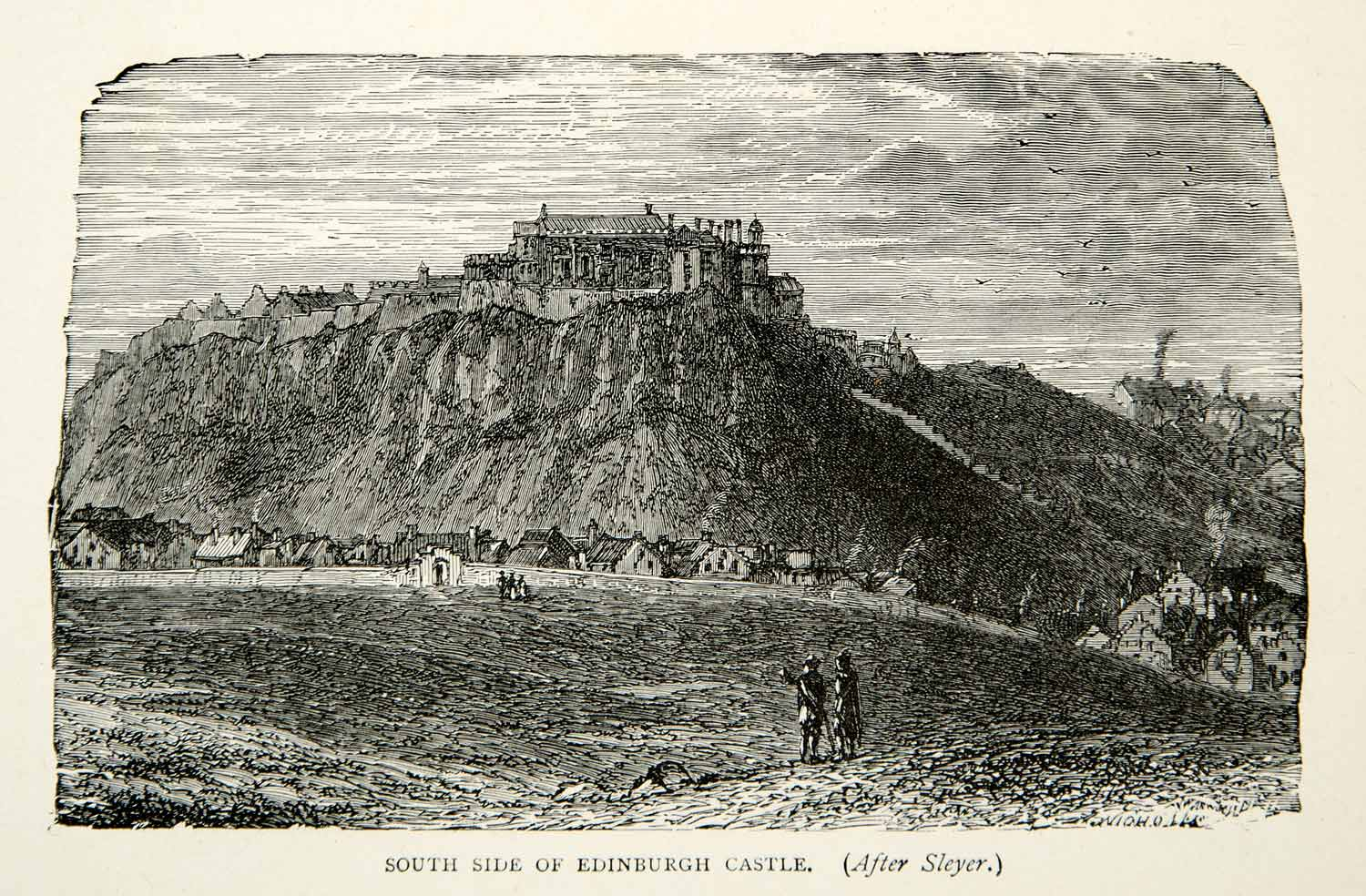 1907 Wood Engraving Edinburgh Castle Rock South Side Fortress Scotland XELA7