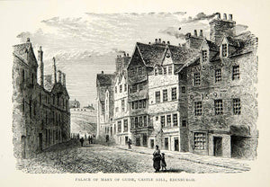 1907 Wood Engraving Palace Mary of Guise Castle Hill Edinburgh Scotland XELA7