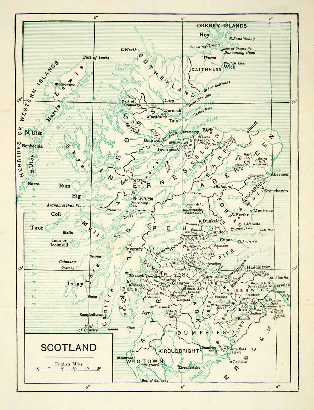 1907 Print Map Scotland Regions Cities Orkney Islands Hebrides United XELA7