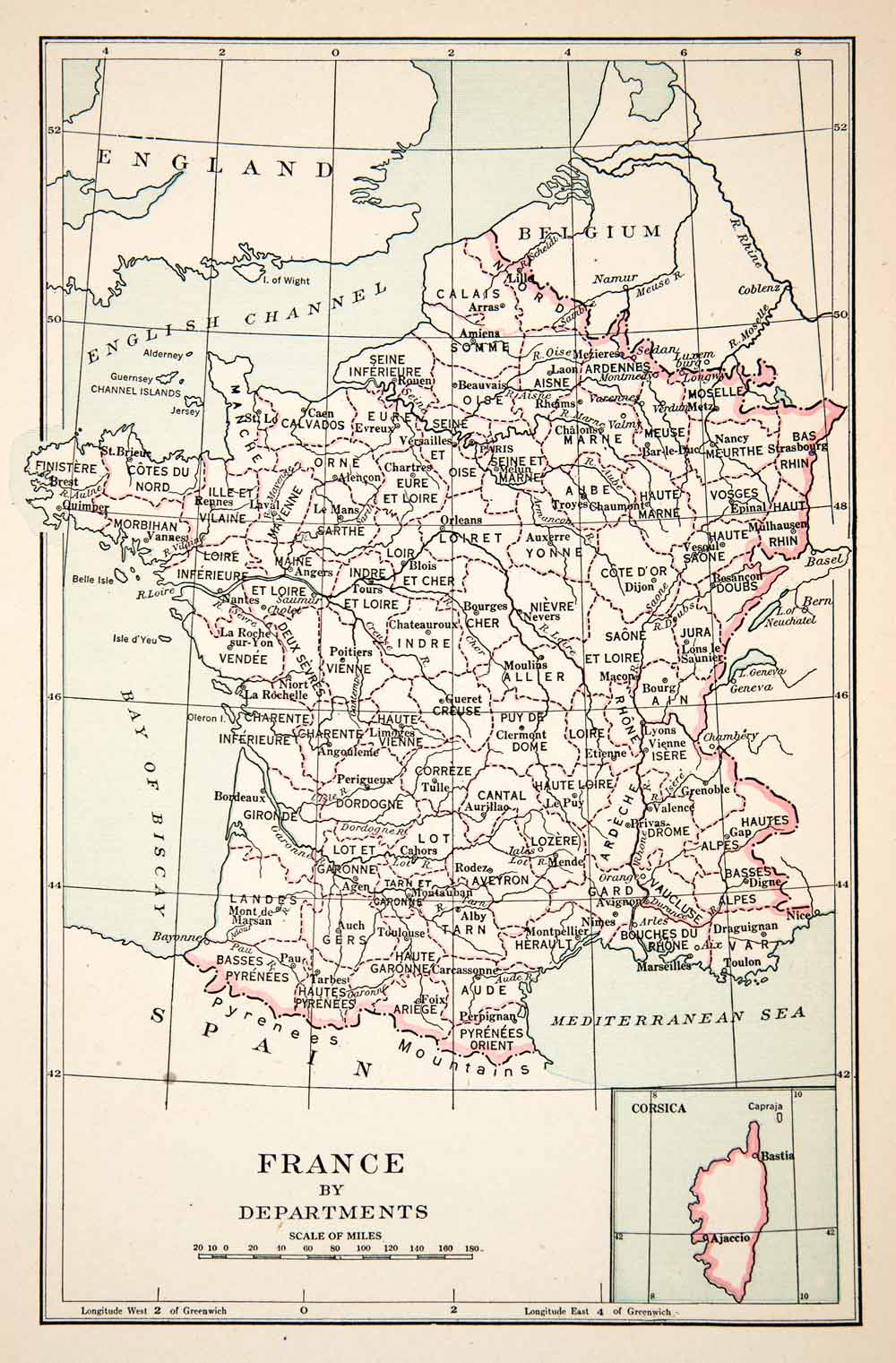 Map Of France Departments.1936 Print Map France Departments Loiret Yonne Marne Gard Landes Et Cher Xem1