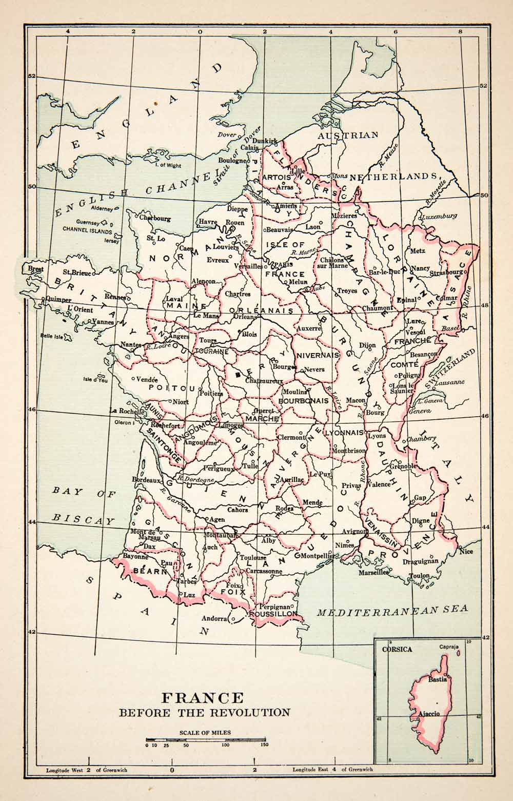 Map Of France To Print.1936 Print Map France Pre Revolution Normandy Brittany Poitou Languedoc Xem1