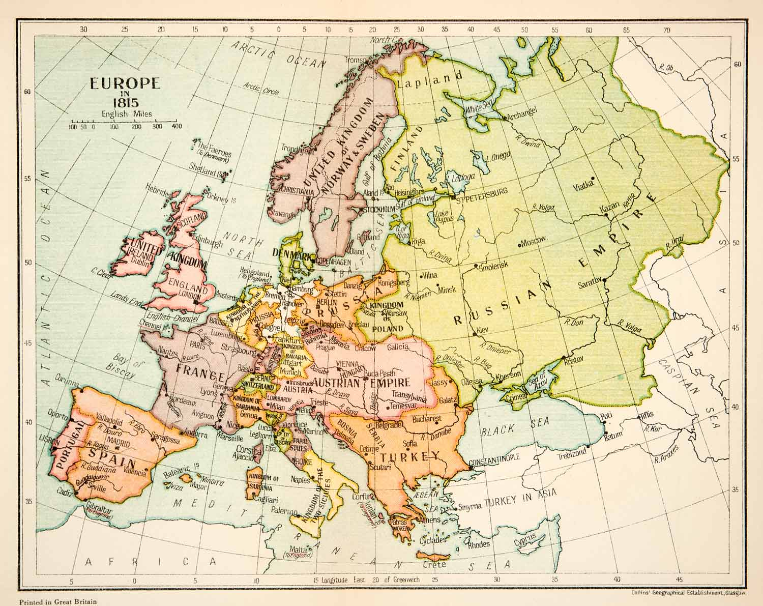 1926 Lithograph Map Europe 1815 Russian Empire France Turkey Spain ...