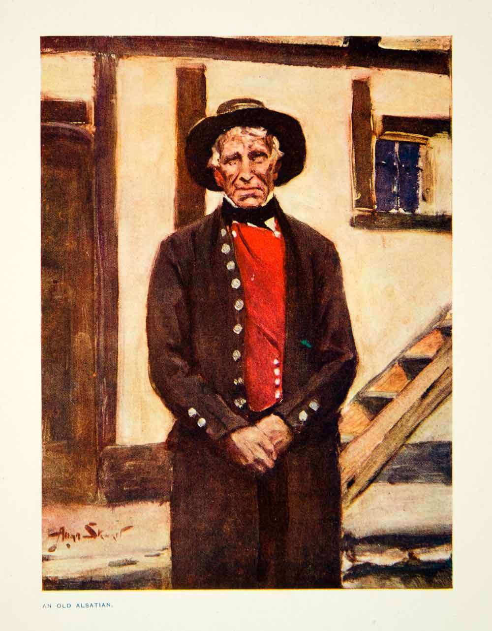 1915 Color Print Elderly Alsatian Traditional Costume Allan Stewart XEMA3