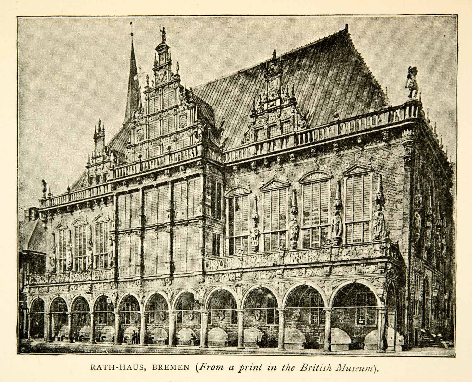 1893 Print Rathaus City Town Hall Bremen Germany Architecture Cityscape XENA5