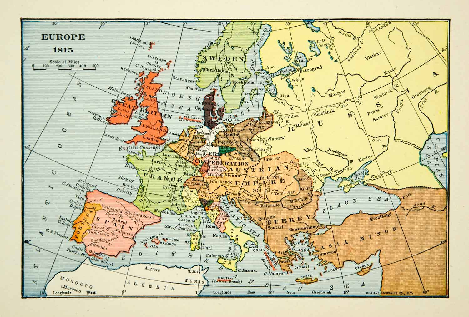 France On A Map Of Europe.1939 Print Map Europe Turkey Russia France 19th Century Great Britain Xena9