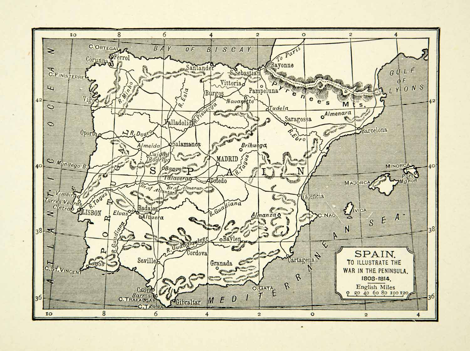 Map Of Spain With Madrid.1939 Print Map Spain 18th Century Pyrenees Madrid Saragossa Portugal Xena9