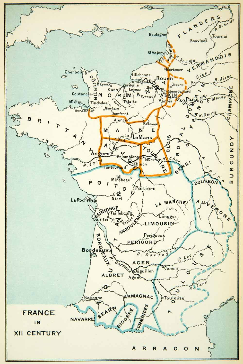 Map Of France Toulouse.1904 Offset Lithograph Map France 12th Century Brittany Toulouse Maine Xeoa1