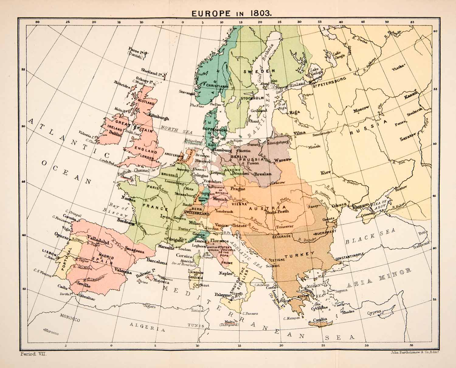 Map Of France To Print.1897 Print Map Europe 1803 Great Britain France Prussia Kingdom Two Xep1