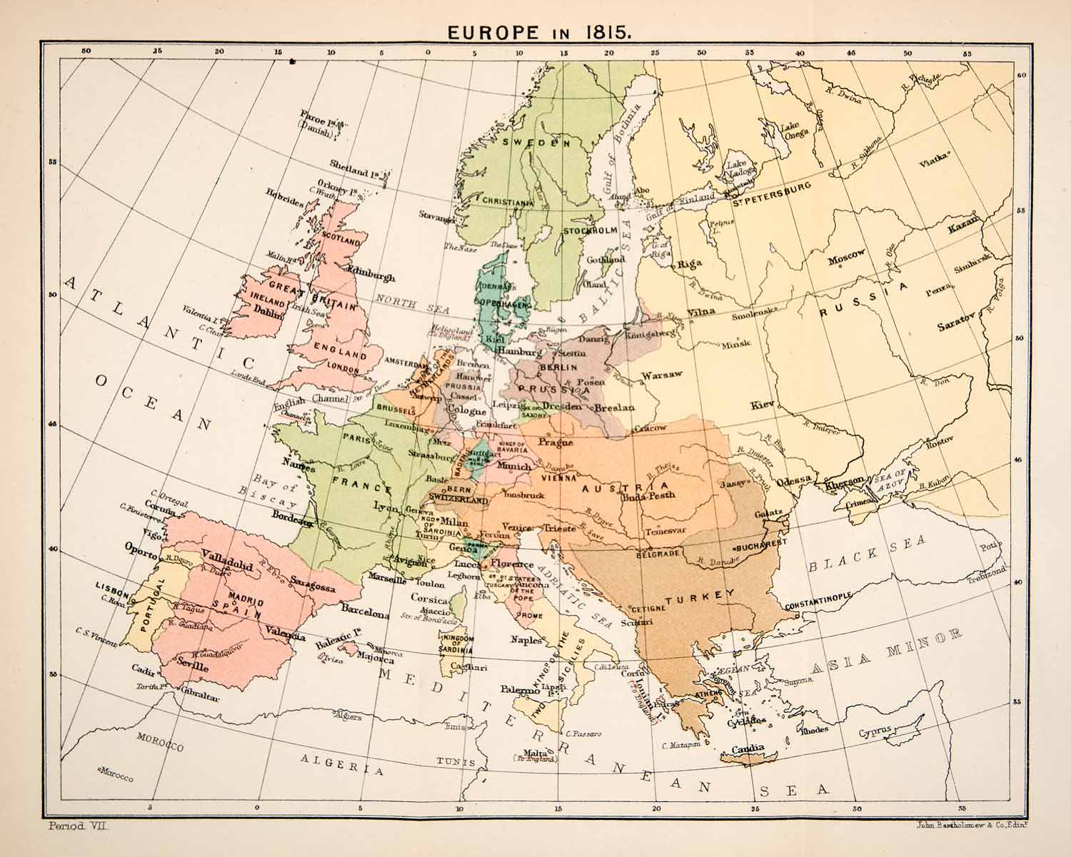 1897 Print Map Europe 1815 Great Britain France Spain Prussia