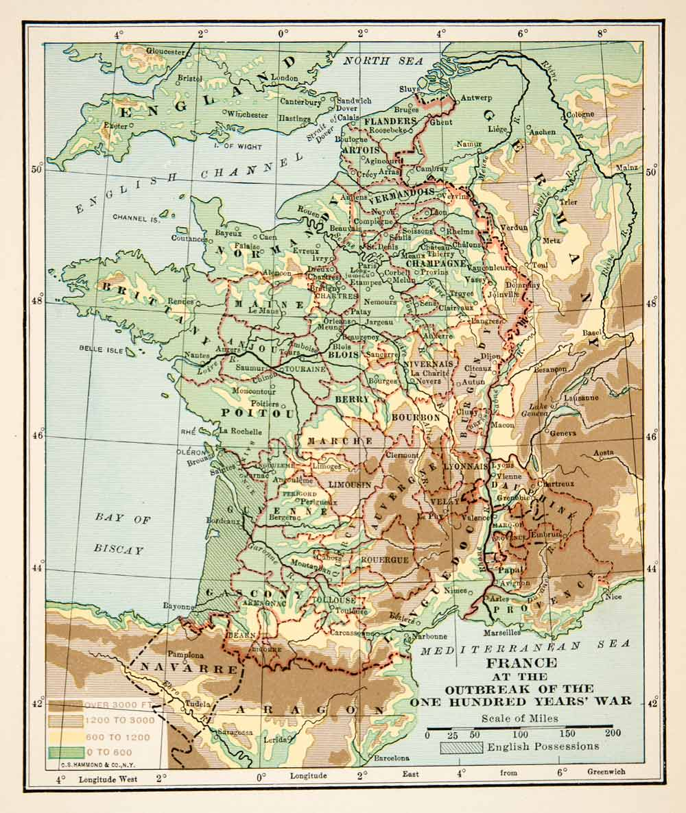 English Map Of France.1915 Print Map France One Hundred Years War English Possessions Germany Xep8