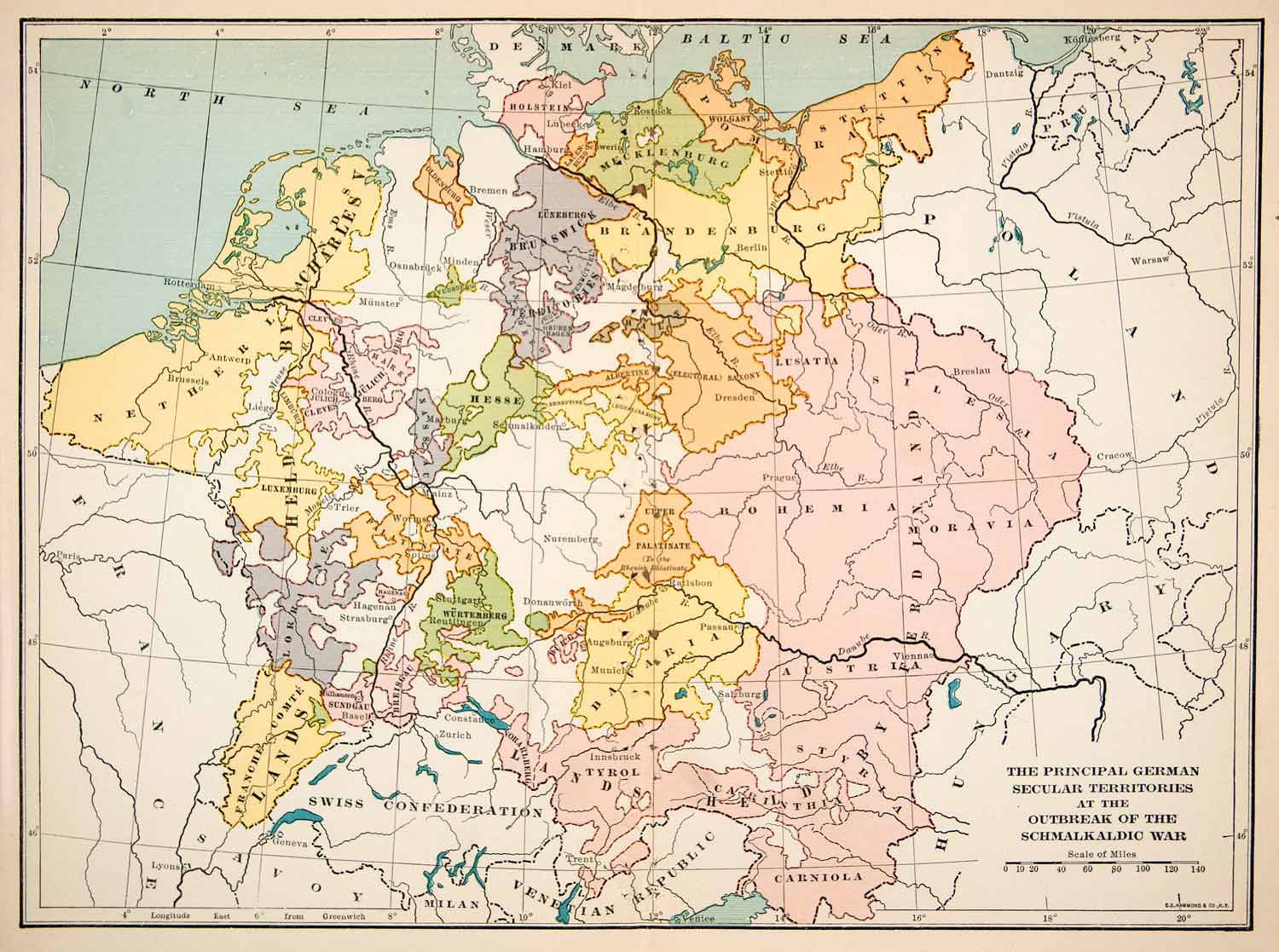 Map Of Germany To Print.1915 Print Map Germany Secular Territories Schmalkaldic Wars Swiss Xep8