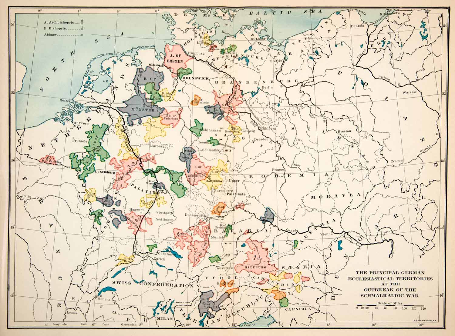 Map Of Germany To Print.1915 Print Map Germany Ecclesiastical Territories Schmalkaldic Wars Bremen Xep8