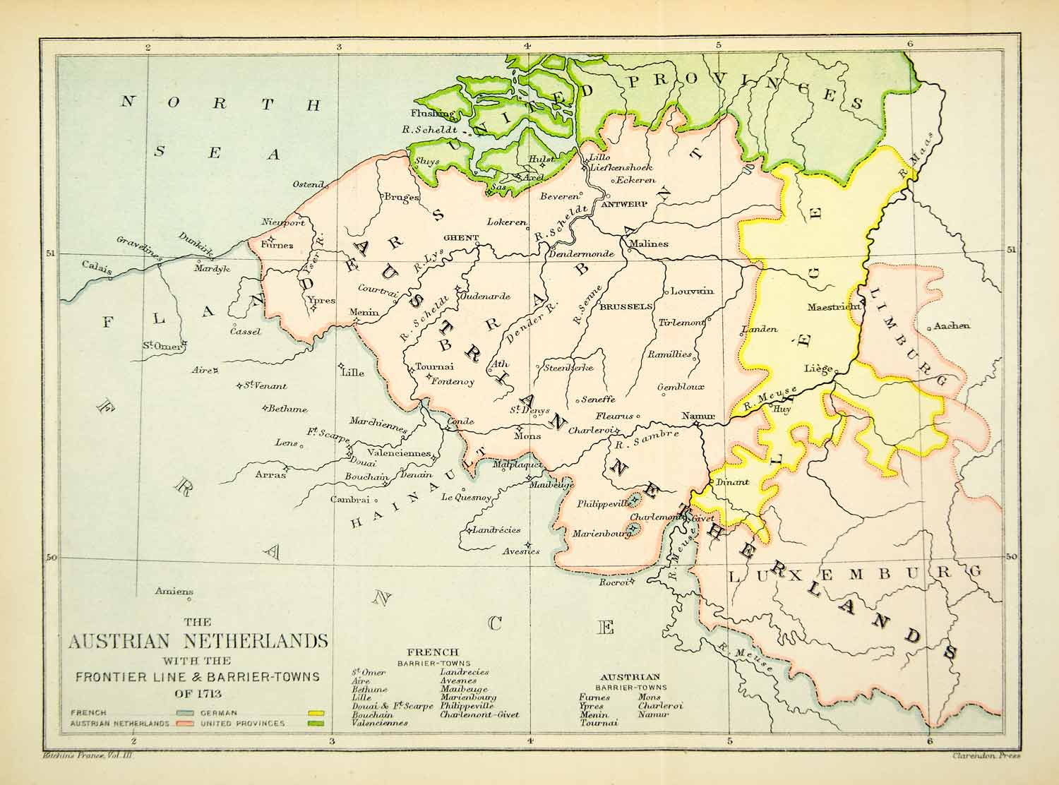 1894 Print Map Austrian Netherlands Flanders United Provinces Limburg XEPA3