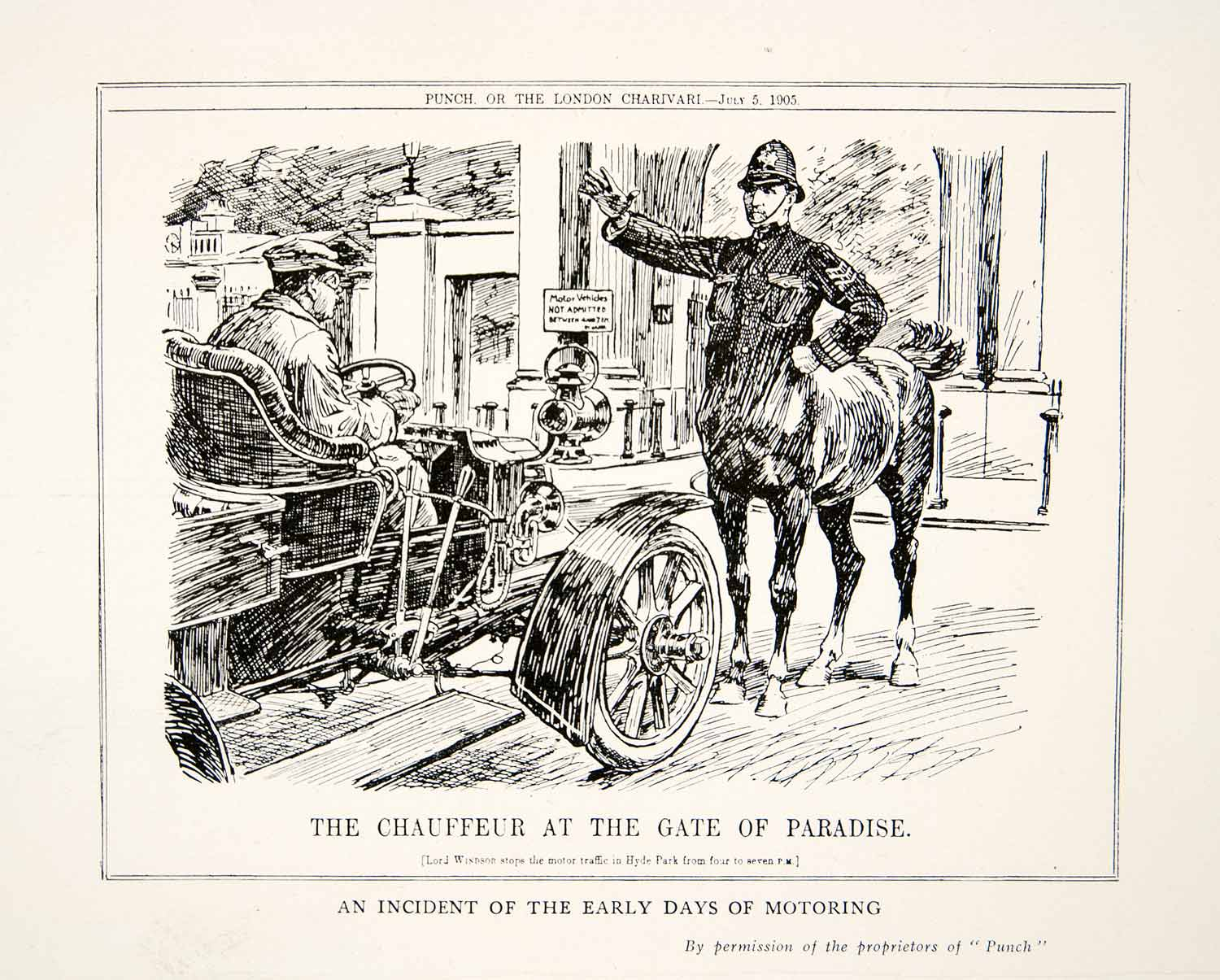 1927 Print London Charivari Punch Antique Car Lord Windsor Centaur Bobby XEQ4
