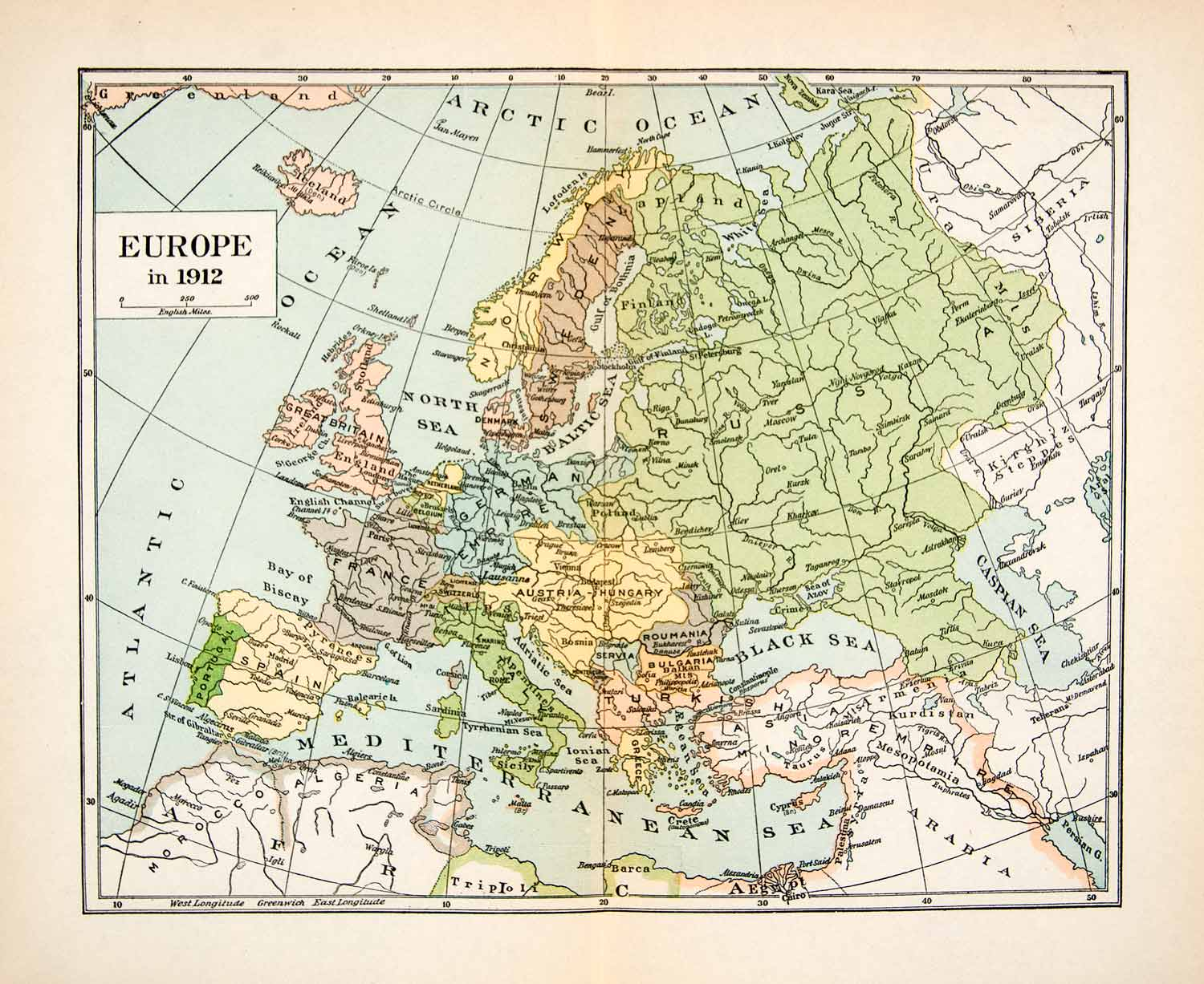 1923 print map europe russia germany france italy austria great britain xeq7