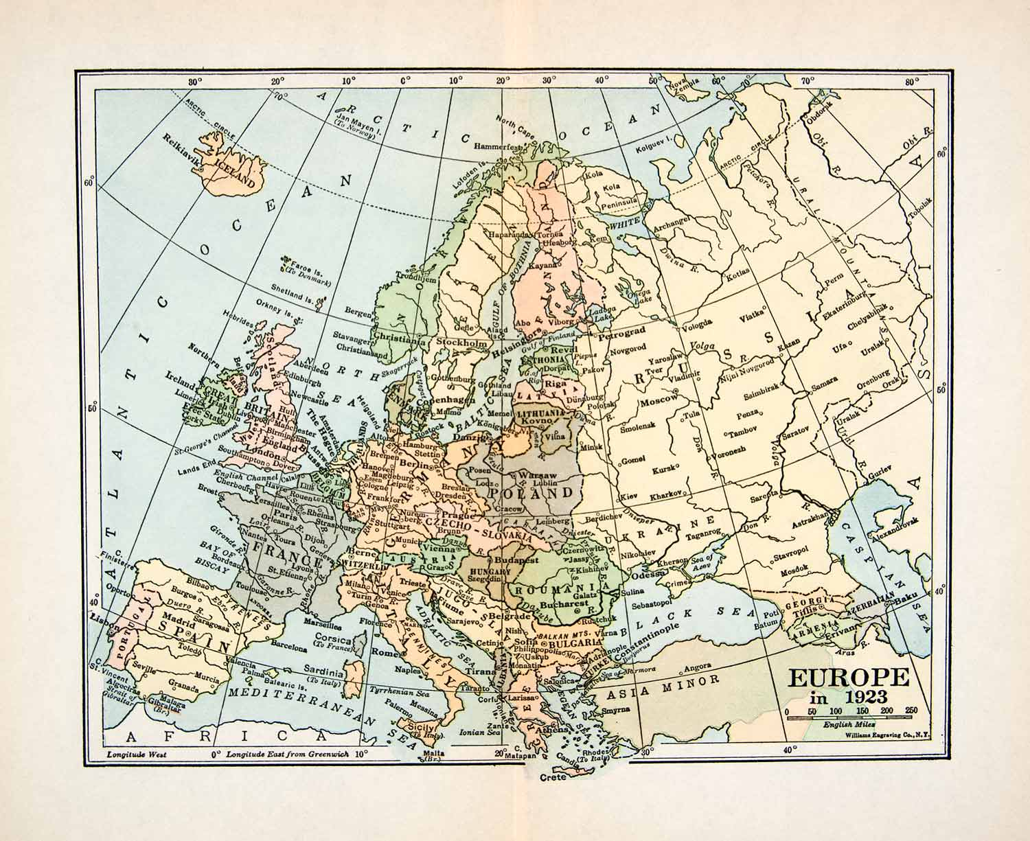 Map Of France Italy And Spain.1923 Print Map Europe Poland France Italy Spain Asia Minor Sweden Germany Xeq7