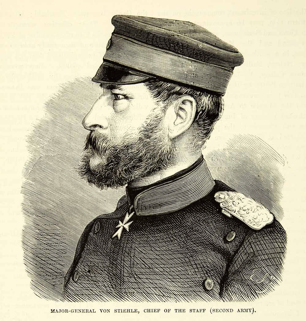 1884 Wood Engraving Major General Gustav Von Stiehle Franco-Prussian War XEQA2