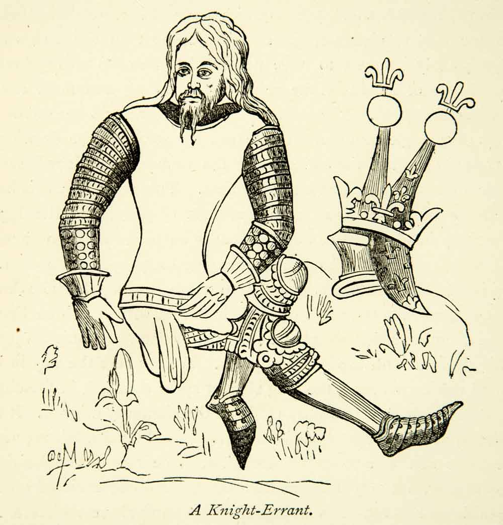 1872 Wood Engraving Knight Errant Chivalry Literature Medieval Art Armor XEQA3
