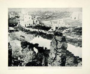 1934 Print WWI Artillery Bombardment Town Battlefield Rubble France Europe XEQA6