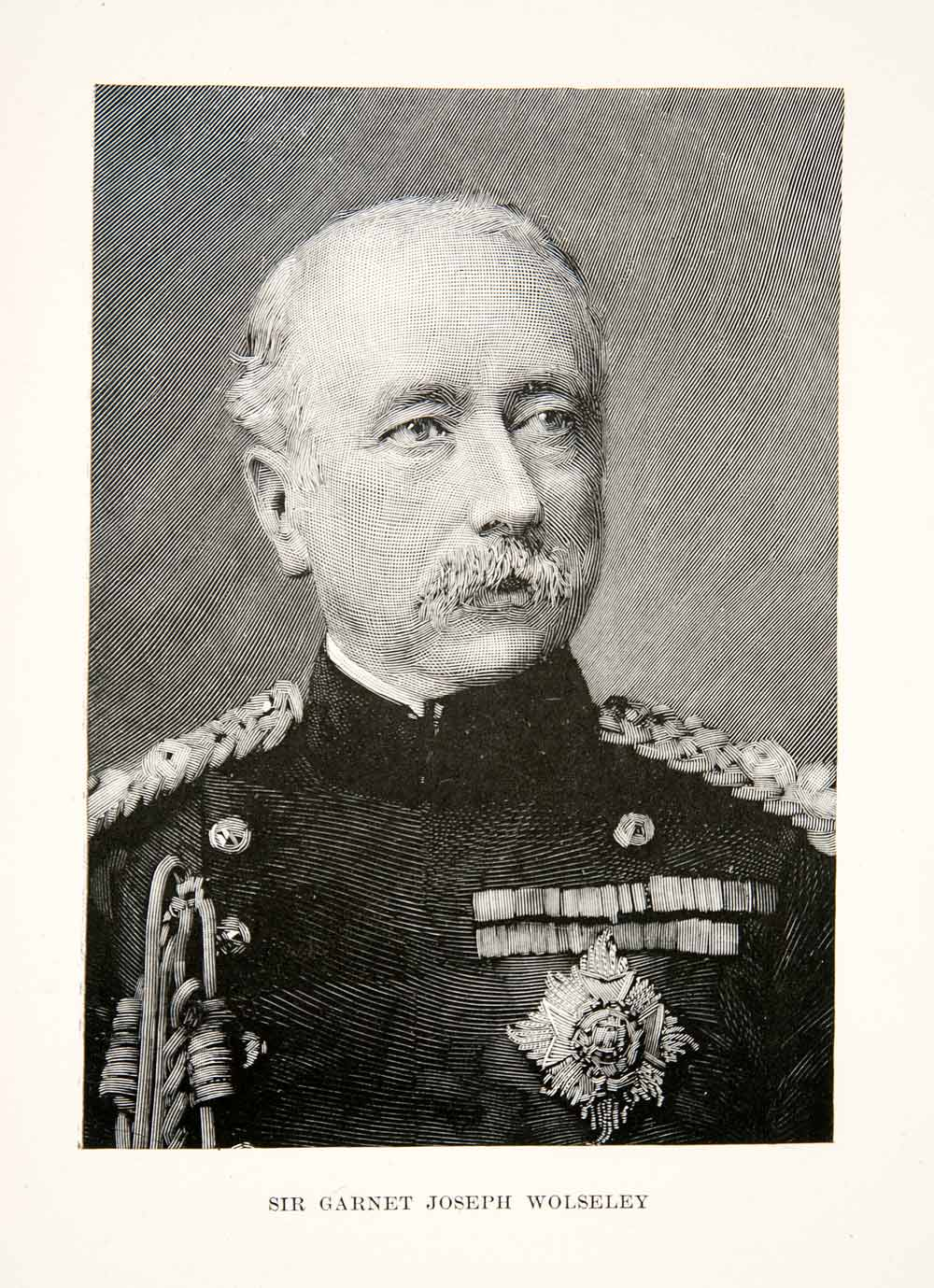 1897 Print Wood Engraving Portrait British Field Marshal Garnet Joseph XER1