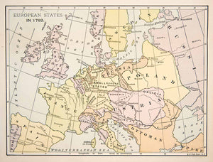 1891 Print Antique 1792 Map Europe Poland France Austria Switzerland Italy XER5