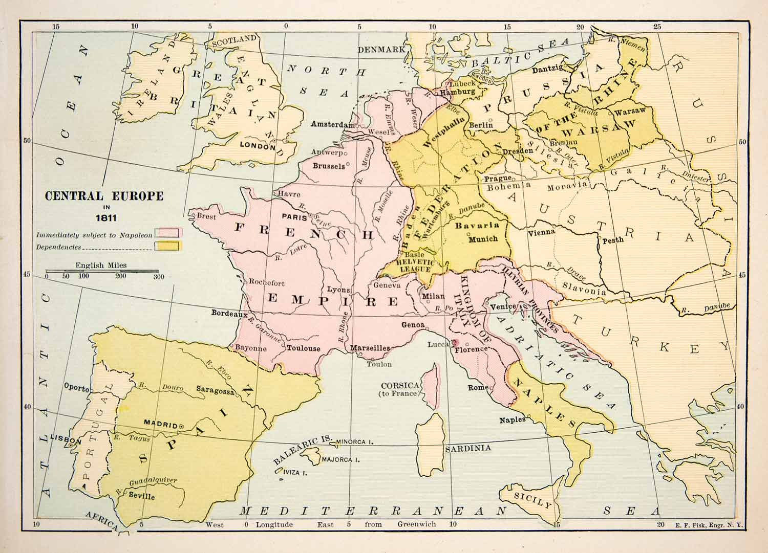 Map Of England Germany.1891 Print Antique 1811 Map Central Europe England Germany Italy France Xer5