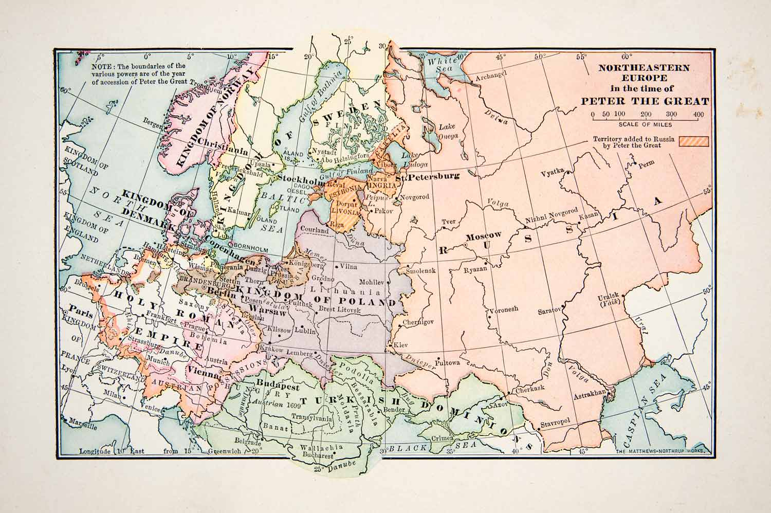 1907 print map northeastern europe peter great russia poland sweden empire xes5