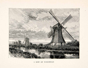 1894 Print Row Windmills Holland Netherlands Water Land Mill Energy Sails XES6