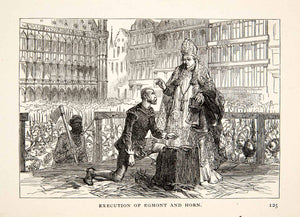 1903 Print Execution Egmont Horn Beheaded Grand Place Brussels Protests XET5