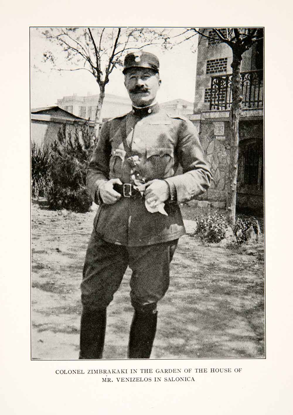 1918 Print Colonel Zimbrakaki Military Soldier Uniform Balkan War Greek XET8