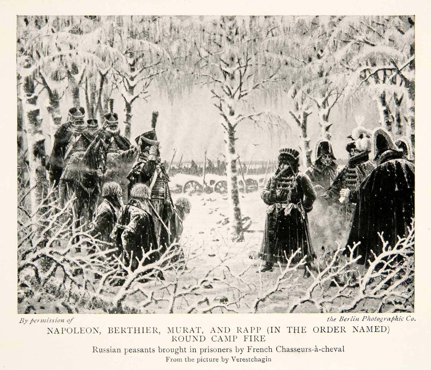 1914 Print Napoleonic Wars Campfire Russian Campaign French Army Officers XEU9