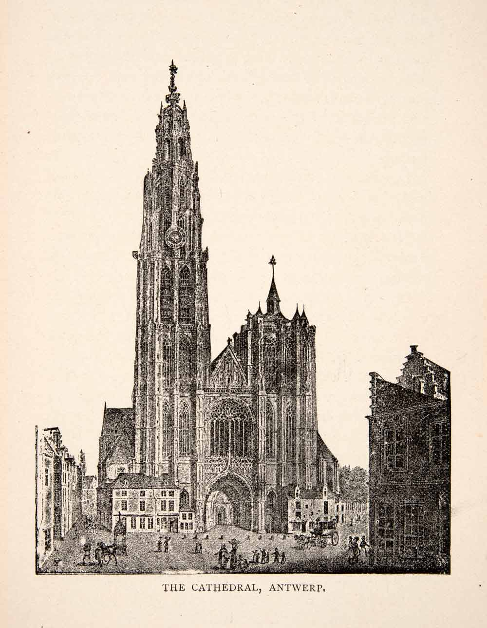 1900 Print Cathedral Antwerp Roman Catholic Our Lady Gothic World Heritage XEW1