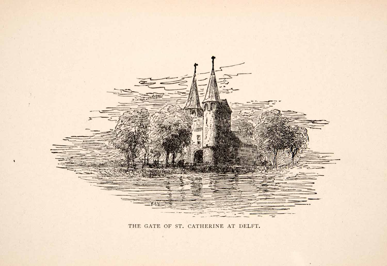 1900 Print Gate Saint Catherine Delft Water Trees Eastern Brick Gothic XEW1