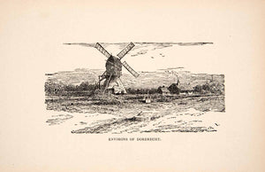1900 Print Environs Dordrecht Windmill Holland Surrounding Dutch Dordt Dort XEW1