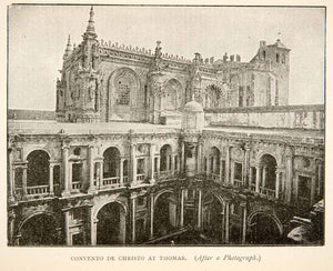 1895 Print Convent Order Christ Church Tomar Portugal Romanesque XEW3