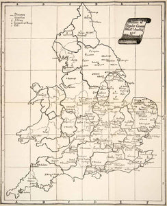 1890 Print Map England Dioceses Counties Abbey Convents Monastery Regular XEW6