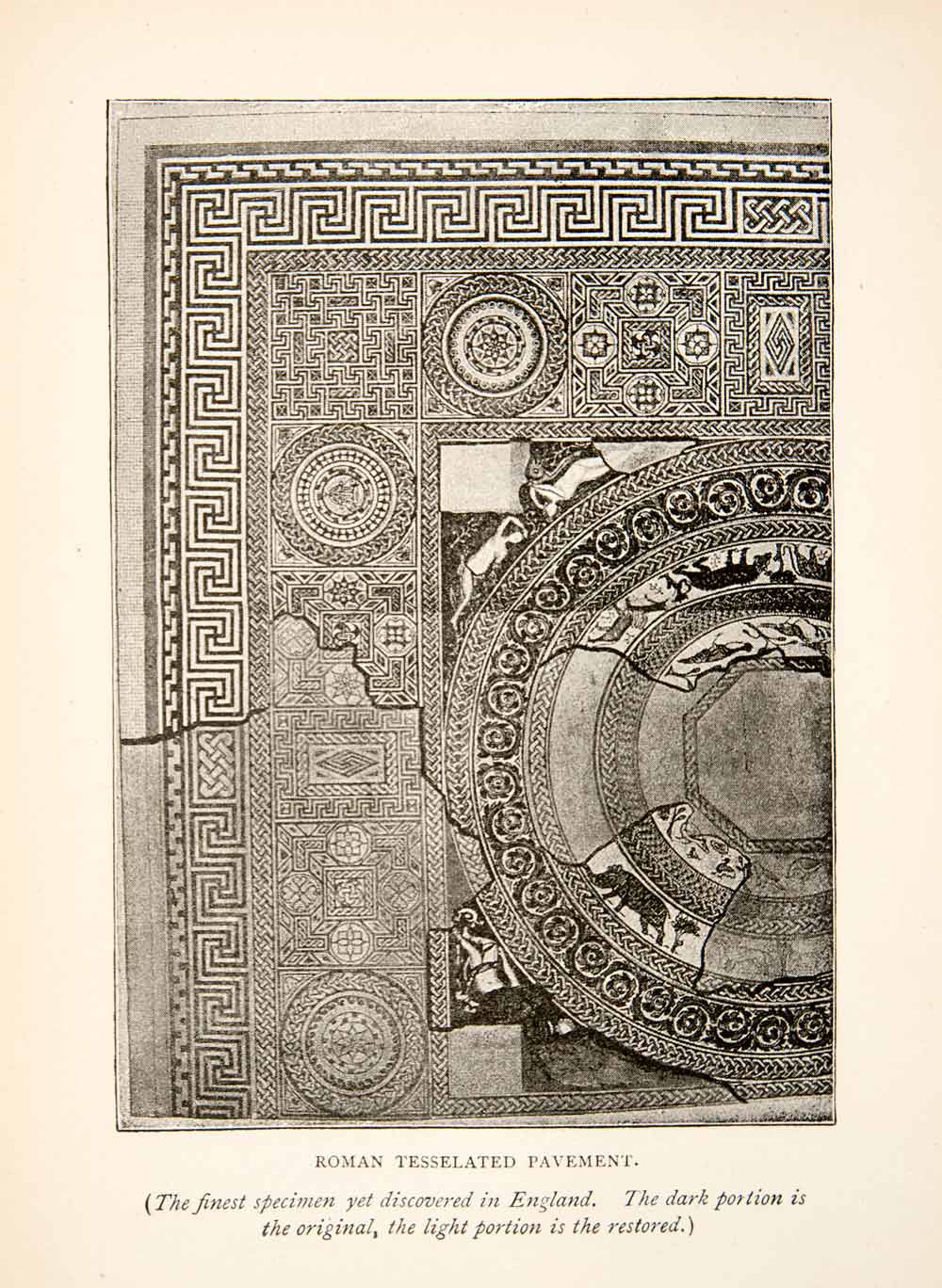 1893 Print Roman Tessellated Pavement Section England Historic XEX4
